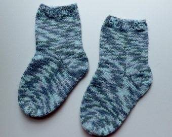 Hand knit baby socks variegated shades of blue