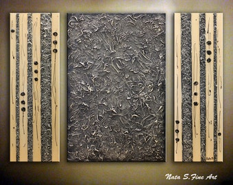 """Heavy Textured Abstract Original Painting, Triptych Painting, Modern Black Beige Wall Art, Large Artwork 36"""" x 48"""" Interior Decor by Nata S."""
