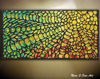 "Abstract Painting, Acrylic, Heavy Textured Art, Original Modern Mosaic Painting, Colorful 3D Wall Art, Large Artwork 48""x 24"" by Nata S."