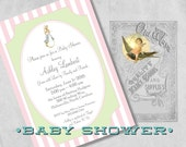 Printed Baby Shower Invitations for a Girl, Vintage Peter Rabbit Jemima PuddleDuck, Pink Green - Custom Storybook Baby Girl Shower Invites