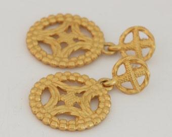 Anne Kline Statement Gold Tone Pierced Dangle Earrings // Vintage Estate Jewelry // fruitsdesbois