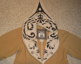 Rare Vintage 1990s French Avant Garde Hooded Silk Screened Coat
