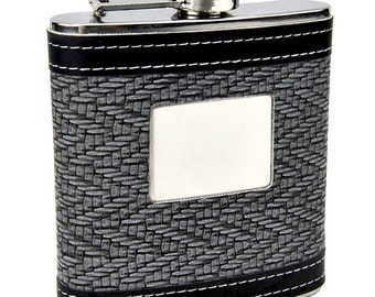 Hip Flask with Black and White Pattern -  Personalization included