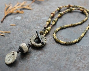 Rustic Ogham necklace, Duir, earthy ceramic toggle necklace