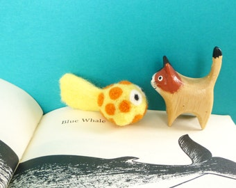 Yellow and Orange Spotted Fish Catnip Cat Toy - Needle Felted Wool
