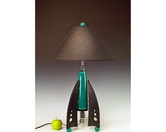 Retro Rocket table lamps! 240. Steam punk industrial. Mid century modern. 50s Atomic. Turquoise.