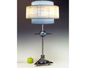 Retro UFO Flying Saucer table lamps. 236. Steam punk industrial lamp. Mid century modern. 50s Atomic.  FAR OUT