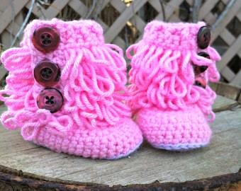 Furrylicious Pink & Purple Booties  - 0-6 months