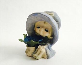 Vintage UCTCI Japan Ceramic Stoneware Figurine -Girl with Flower Pot-