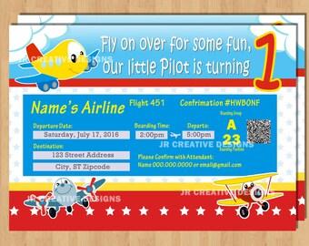 Airplane ticket Invitation Airplane ticket invite airplane adventure 1st birthday invitation 1st birthday invite boy Plane invitation photo