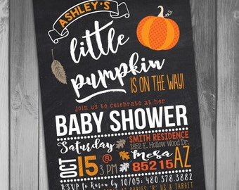 Little Pumpkin Baby Shower invitations Halloween Baby Shower Fall Baby Shower Invitations Printable Baby Pumpkin Baby Pumpkin Invitation