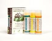 Herb Garden Lip Balm Set - All Natural - Crushed Mint, Lemon Fennel, Orange Sage