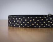 Buckle Dog Collar, Miss Otis, black with metallic gold dots, size medium
