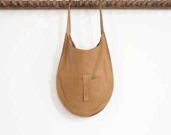 The Versailles- Leather Hobo Shoulder Bag- Butterscotch
