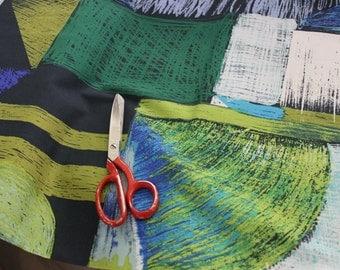 Japanese fabric Kokka / Echino - Keshiko Yoruno Green/ Black