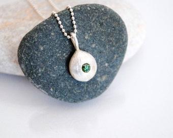 Green diamond and silver pendant necklace, tiny diamond necklace, fancy diamond necklace, simple pebble pendant
