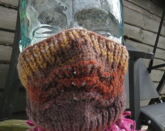 Hand knitted ski mask in variegated browns