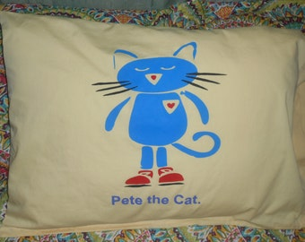 Blue Cat with Red Sneakers - Pillowcase for Child's Bed