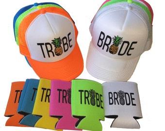 Single Set Pineapple Bride Tribe Snapback Mesh Trucker Hat Cap & Matching Can Cover Team Bride Bachelorette