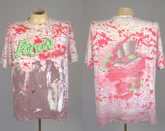 90s Poison Flesh and Blood Promo All Over Print Paint Splatter 1990 Rock Tour T Shirt