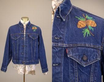 70s Levis Big E Trucker Jacket Indigo Blue Dark Denim Hippie Embroidered Two Pocket Jean Jacket