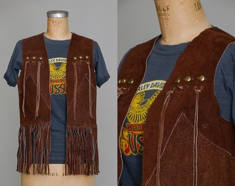 70s Leather Fringe Vest Brown Suede Leather Motorcycle Vest