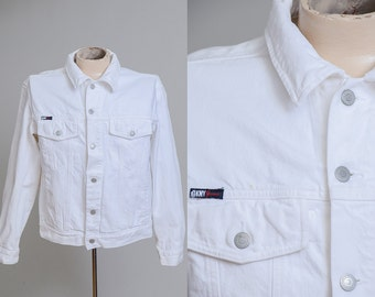 90s White Denim DKNY Modern Prep Jean Jacket