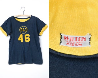 1940s Flocked Reversible Blue & Yellow Wilton PLC Cotton T Shirt
