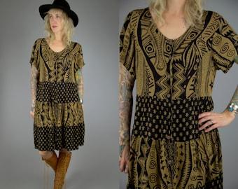 Vintage Indian Babydoll Dress Bohemian Hand Dyed Rayon Paneled Dolly Dress