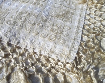 """Antique Swiss Tambour lace on Fine Linen Tablecloth / Piano Shawl..60"""" Square Plus Fringe... FREE SHIPPING"""