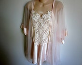 peignoir nightgown & robe set lace chiffon babydoll sexy lingerie M