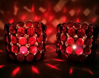 Candle Holders Stained Glass Votive Holder Ruby Red Handmade