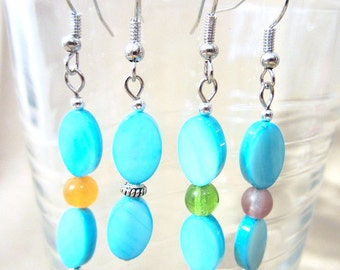 Double Turquoise Oval Shell & Accent Bead Dangle Earrings, Handmade Original Fashion Jewelry, Summer Beach Ocean Inspired Ladies Gift Idea