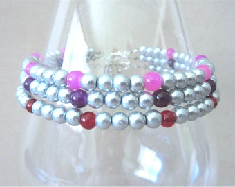 PLUS SIZE Pearl Ankle Bracelet, Silver Pearl & Glass Accent Bead Anklets, Silver Beaded Anklet, Handmade Colored Pearl Bridesmaid Jewelry