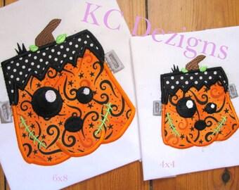 Frankenstein Pumpkin Face Machine Applique Embroidery Design - 4x4, 5x7 & 6x8
