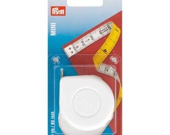 Prym Mini Tape Measure - White Retractable Spring - Sew Dressmaking Craft 150cm 60 inches