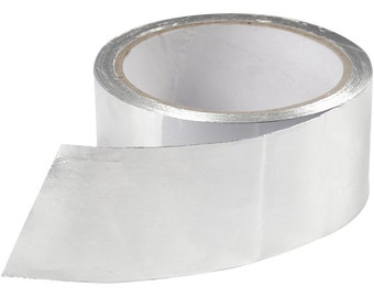 Extra Wide Silver Foil Tape - Adhesive Backing Aluminiun - 50mm x 20m Roll - Craft Gift Wrap