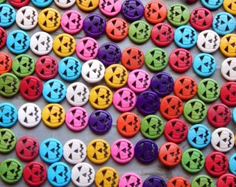 15mm Synthetic Turquoise Carved Halloween Multicolored Assorted Pumpkin Beads, 15.25 Inch Strand (INDOC420)