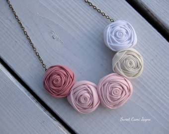 Mini Rosette Necklace Blush Pink Fabric Necklace Bib Necklace Fabric Rosette Necklace Handmade Necklace Statement Necklace Ombré Necklace