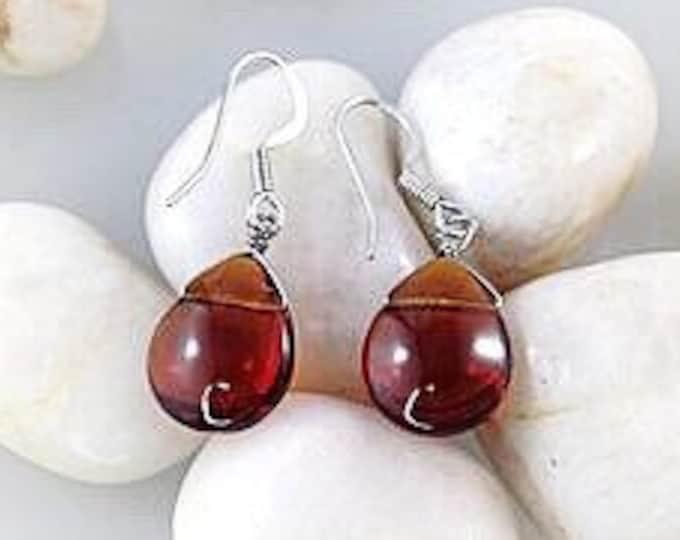 Handmade Earrings, Pretty Glass Amber Earrings / Handmade Glass Drop Earrings /Unique Earrings / Beach Jewelry / Ladies Earrings /
