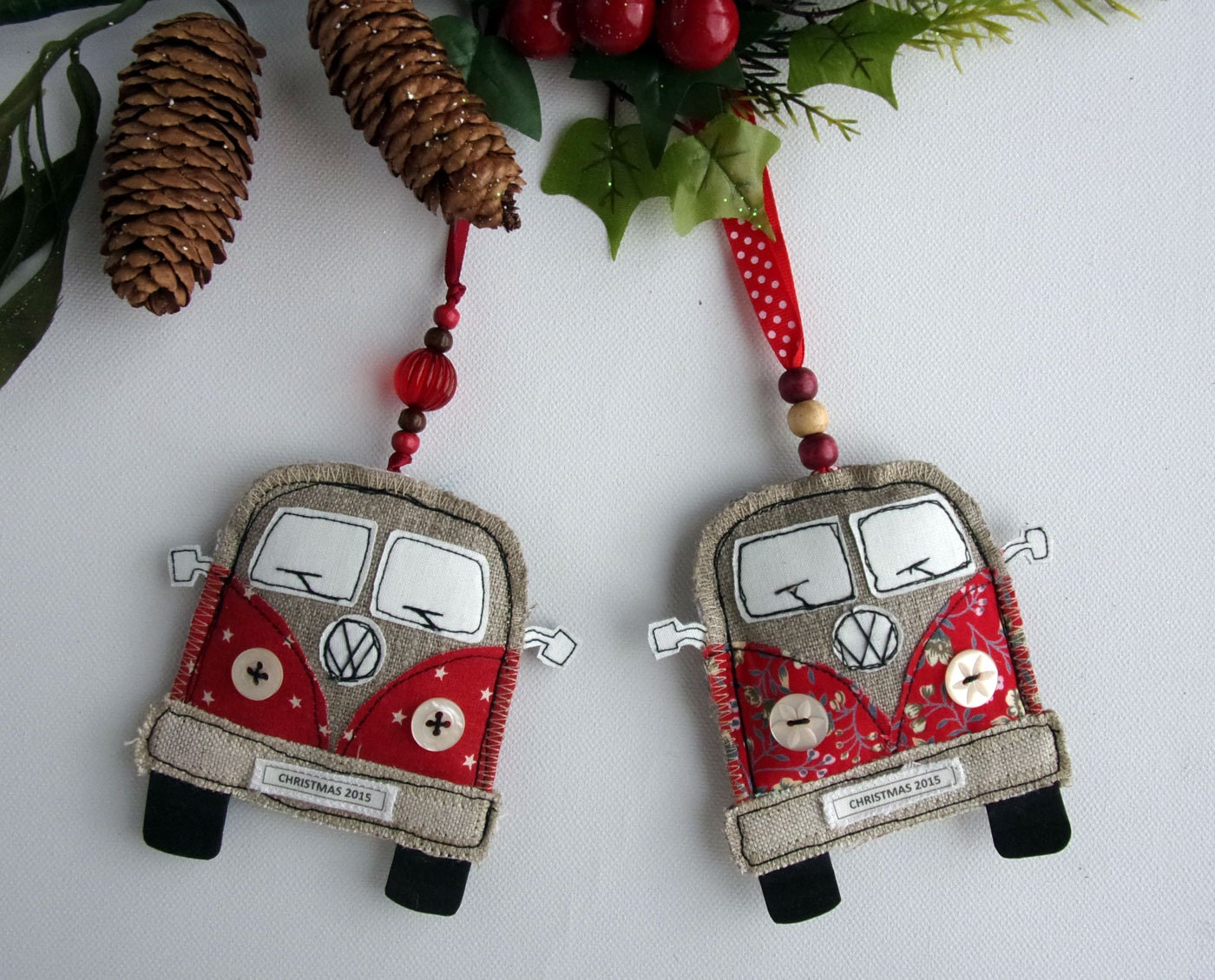 Cousin ornaments - Vw Van Christmas Decoration Fabric Christmas Ornaments Volkswagen Bus Handmade Vw Camper Van Ornaments Personalized Kombi
