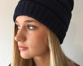 Dark Blue Knit Beanie Hat
