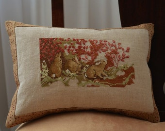 Rabbits Bunnies Cross Stitch Small Accent Pillow