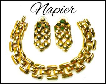 NAPIER Gold Bracelet & Earrings Set, Wide Chain Pierced Earrings, Open Link Chain, Gold Chain Bracelet, Gold Chain Earrings, Gift For Her