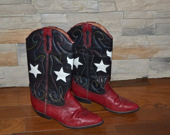 Vintage  black and red white leather cowgirl Western  boots Women size 7 1/2 B cowboy low heeled boots stars boots