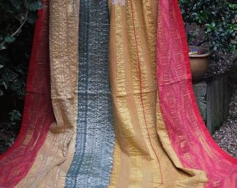 Red and Yellow Kantha quilt,Vintage Kantha quilt,Yellow and Red Kantha Throw,Sari throw, Kantha Blanket, Kantha throw,Indian boho quilt