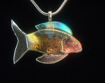 Dichroic Glass Fish Pendant