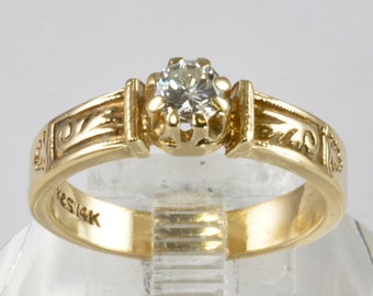 Victorian-Style Diamond Engagement Ring - 14kt Yellow Gold Ring - 1/3 Carat Solitaire - Size 7 Vintage Engagement Ring - Promise Ring