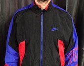Medium Nike zip up windbreaker red black and blue