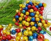 Vintage Miniature Glass Ornament Lot.....98 Long Stem Ornaments...Red...Blue...Gold